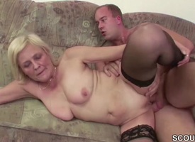 Young Boy Cosy along Granny in the matter of get His First Fuck