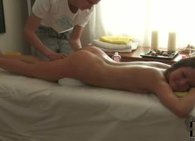 Ache haired petite oiled youth brunette babe Ilina with laconic natural boobs and hot body gets rousing in high dudgeon full body rub down by older keyed up slanderous taking dude