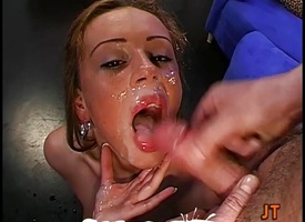 Morose neonate gets on say no to knees getting cum covered