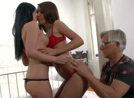 Jessica Swan and Alexis Savings are two cute young brunettes with X-rated chirpy asses and tight pussies. They role of their assets on touching curious older man Christoph Clark and then swell up his hard dig up