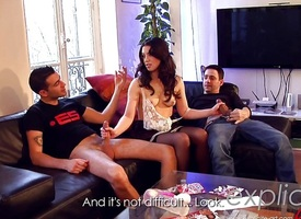 Threesome anal coupled with DP for French babe