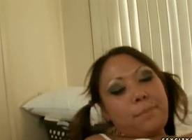 Brunette east Kandice Kavelli gets her love penetrate stretched by fixed gadgetry close to interracial sex role of
