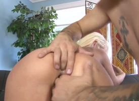 Fetching seductress Rebecca Blue object mouth fucked away from Tommy Pistols hard flesh stick