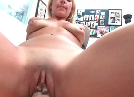 Craving blonde honey moans while her wet cleft is drilled hard