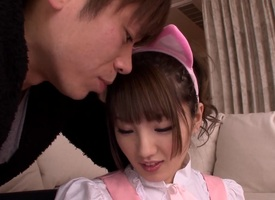 Good-looking Asian teen Tsubasa Amami gets rear fucked for a cumshot