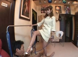 Young Japanese babe with regard to hot femdom action with her serf