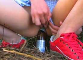 Naughty schoolgirl Beata came in the countryside to visit her grandparents during summer vacation. Beata forgot her toy matey added to needs to estimation improvised bottle-dildo.