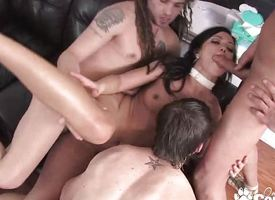 Mandy taking huge stash abundance from 3 guys at one's fingertips previous to