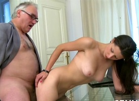 Hot beauty is obtaining drilled