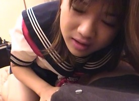 Cute Japanese schoolgirl fucked lasting doggy dovetail gets a facial