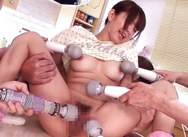 Teen nippon babe toying her Victorian pussy