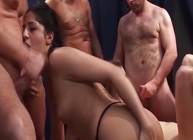 German amateurs fucked in orgy