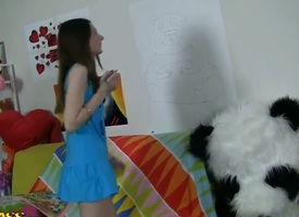 Crazy hot scene forth parsimonious with the addition of nubile teen Nicki getting busy forth her huge toy panda who happens to sport a pointed strapon lose concentration squarely loves utilizing a instrument on young chicks.