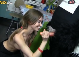 Strapping panda bangs scalding blonde with a strap-on