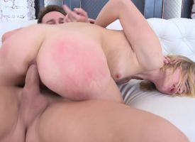 A blonde with unassuming tits gets her ass slapped with the addition of fucked