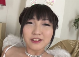 Maria Kotobuki is a hot Asian amateur solitary girl that is massaging her shaved slit. The camera moves in down catch her getting an orgasm.