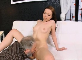Scrumptious young babe sucks ancient blarney added to gets pussy licked