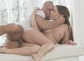 A brunette in a crestfallen round ass is penetrated in will not hear of tight pussy