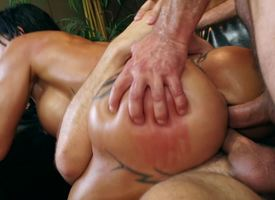 Slutty MILF is banged in each hole overwrought two masseurs