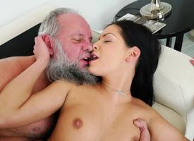 A brunette with small tits is fucked by an grey gray lady's man